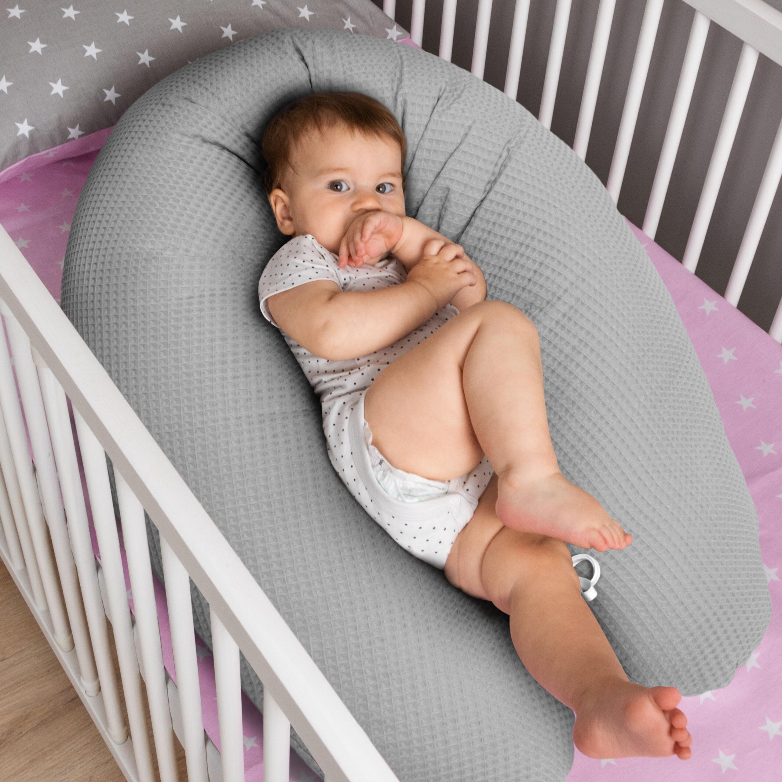 B/ären MINI Grau//Pepita Grau Amilian Stillkissen mit F/üllung f/ürs Baby 330cm Bezug 100/% Baumwolle mit Rei/ßverschluss Babykissen Typ A