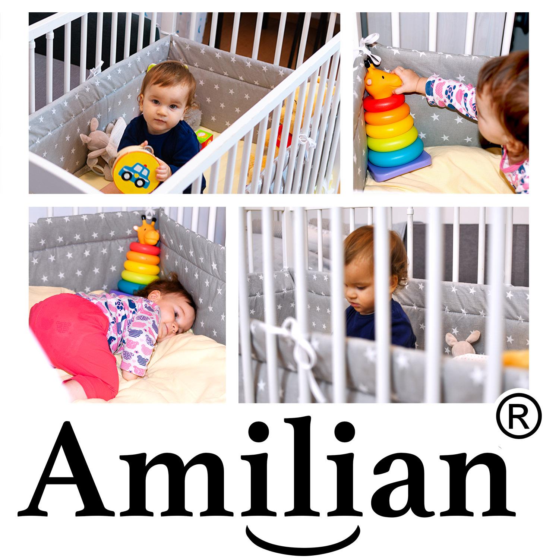180cm Amilian/® Bettumrandung Nest Kopfschutz Nestchen Hund und Katze Blau Bettnestchen Baby Kantenschutz Bettausstattung f/ür das Babybett 120x60cm- Kopfschutz